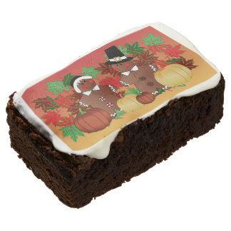 Happy Thanksgiving Gingerbread Pilgrims Brownie