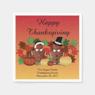 Happy Thanksgiving Gingerbread Pilgrims Napkin