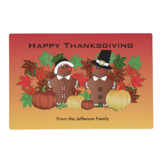Happy Thanksgiving Gingerbread Pilgrims Placemat