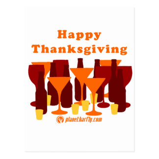 Happy Thanksgiving Glasses Postcard