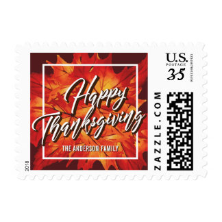 HAPPY THANKSGIVING  GOLD MAPLE LEAVES POSTCARD POSTAGE