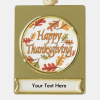 Happy Thanksgiving Gold Plated Banner Ornament