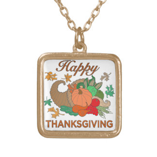 Happy Thanksgiving Gold Plated Necklace