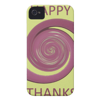 Happy Thanksgiving Golden Yellow whirl design.png iPhone 4 Case-Mate Case