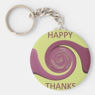 Happy Thanksgiving Golden Yellow whirl design.png Keychain