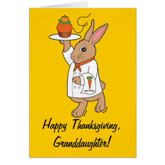 Happy Thanksgiving Granddaughter Bunny and Cupcake Card