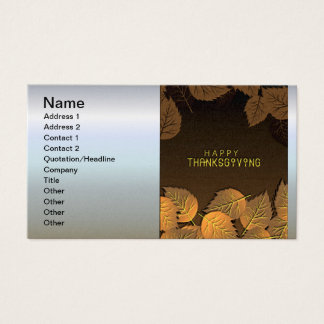 Happy Thanksgiving Greetings with Fall Leaves Business Card
