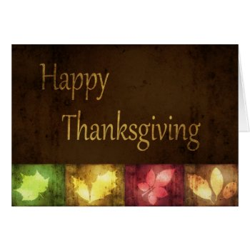 Thanksgiving Greetings Card, with colorful grunge autumn leaves
