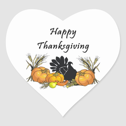 Happy Thanksgiving Heart Sticker