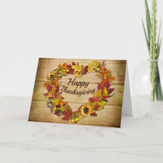 Happy Thanksgiving Heart Wreath Greeting Card