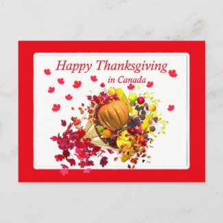 Happy Thanksgiving in Canada Cornucopia postcard