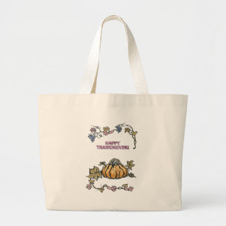 Happy Thanksgiving Large Tote Bag
