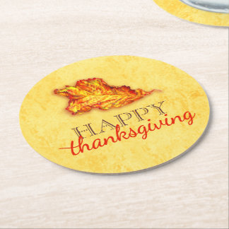 Happy thanksgiving leaf art paper coasters