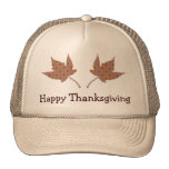 Happy Thanksgiving Leaf Cap Trucker Hats