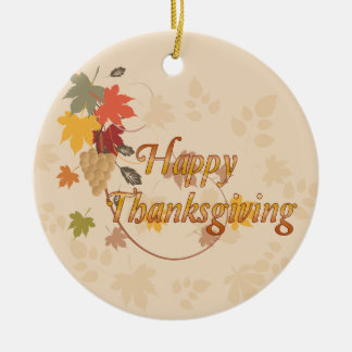 Happy Thanksgiving - Leaves, Grapes and Ribbons Ceramic Ornament