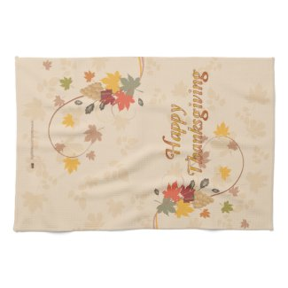 Happy Thanksgiving - Leaves, Grapes and Ribbons Kitchen Towel