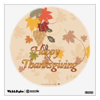 Happy Thanksgiving - Leaves, Grapes and Ribbons Wall Decal