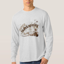 Happy Thanksgiving & Leaves Long Sleeve T-Shirt