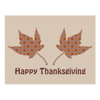 Happy Thanksgiving Leaves Postcard