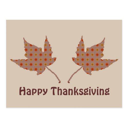 Happy Thanksgiving Leaves Postcard