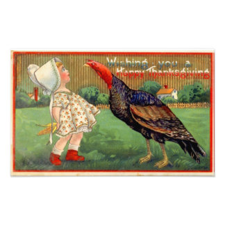 Happy Thanksgiving Little Girl and Turkey Vintage Photo Print