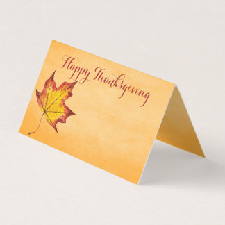 Happy Thanksgiving Message Fall Leaf Table Seating Place Card