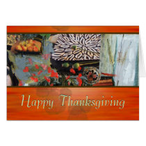 thanksgiving, holidays, modern, designs, red, orange, earth, nature, celebrating, collage, ginette, customizable, contemporary, gender neutral, business, professional, interior, fashion, classy, stylish, thank you, happy birthday, Card with custom graphic design