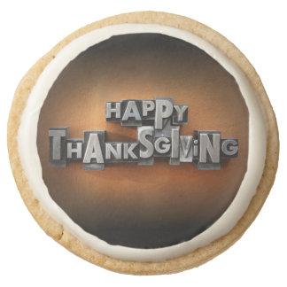 Happy Thanksgiving Round Premium Shortbread Cookie