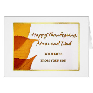Happy Thanksgiving Mom and Dad from Son Card