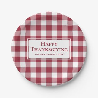 Happy Thanksgiving Name Burgundy Gingham Plaid Paper Plate