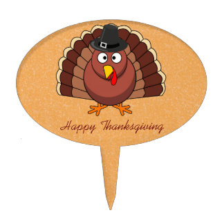 Happy Thanksgiving Oval Cake Toppers - Turkey
