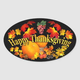 Happy Thanksgiving Oval Sticker