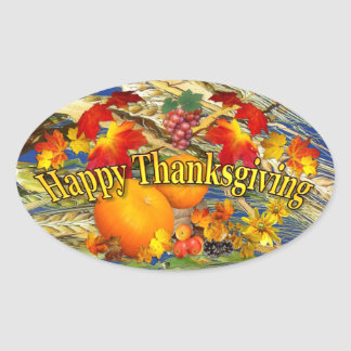 Happy Thanksgiving ~ Oval Sticker