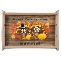 Happy Thanksgiving Owl Turkey Pilgrims on Wood Serving Tray