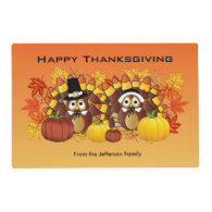Happy Thanksgiving Owl Turkey Pilgrims Placemat