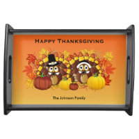 Happy Thanksgiving Owl Turkey Pilgrims Serving Tray
