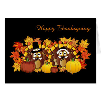 Happy Thanksgiving Owls Card