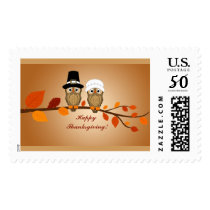 Happy Thanksgiving Owls Postage