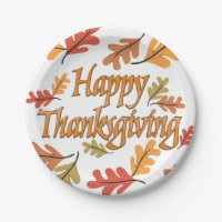 Happy Thanksgiving Paper Plate
