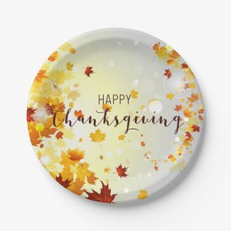 Happy Thanksgiving Paper Plates With Leaves 7 Inch Paper Plate