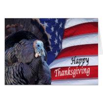 Happy Thanksgiving patriotic turkey waving America Card