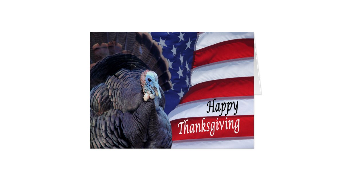 happy thanksgiving patriotic turkey waving america card