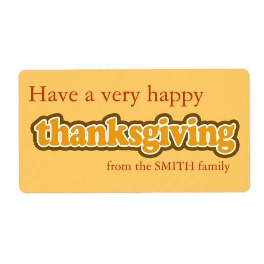 Happy Thanksgiving Personalized Label