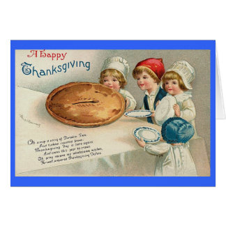 Happy Thanksgiving Pie Image Vintage Card