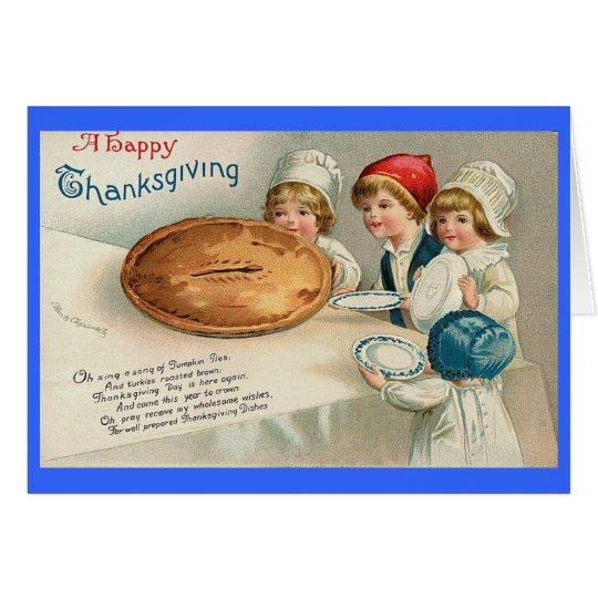 Happy Thanksgiving Pie Image Vintage Card