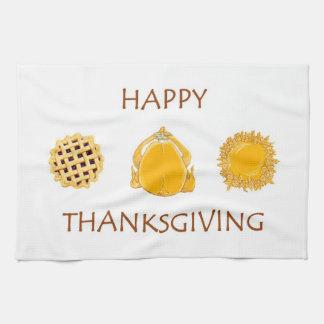 HAPPY THANKSGIVING pie turkey pie kitchen towel