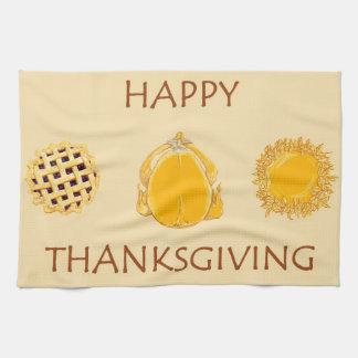 Happy Thanksgiving Pies Turkey beige kitchen towel