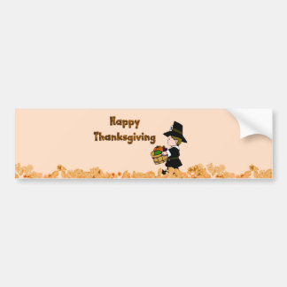 Happy Thanksgiving Pilgrim Bumper Sticker Car Bumper Sticker