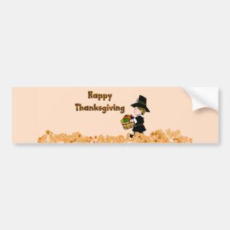 Happy Thanksgiving Pilgrim Bumper Sticker