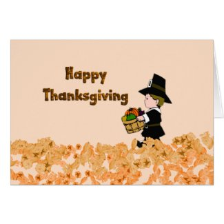 Happy Thanksgiving Pilgrim Greeting Card